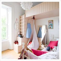 Hang the swing chair under a loft bed