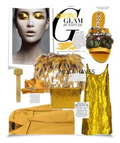 """#yellow"" by sugarmoonmama ❤ liked on Polyvore featuring Barbara Bui, Rochas, Prada, Judith Leiber and N°21"