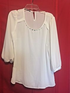 Fashion White Top Scoop Neck Faceted Stones Pearls  Size S 3/4 Sleeve Key Hole #Unbranded #Blouse #Career