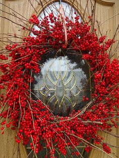 Autumn Wreaths, Holiday Wreaths, Thanksgiving Wreaths, Christmas Decorations, Christmas Gifts, Red Berry Wreath, Fresh Wreath, Twig Wreath, Indoor Wreath