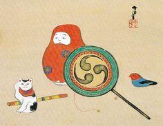 Title: Toys 玩具図 Creator/Contributor: Kanzaka, Sekka, Artist Date: [between 1920 and Contributing Institution: UC Merced Birmingham Museum Of Art, Japanese Art Styles, Traditional Toys, Matchbox Art, Japanese Toys, Maneki Neko, Japanese Painting, Museum Of Modern Art, Asian Art