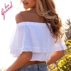 Women Cotton Lace Off Shoulder Tank Tops