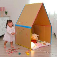 おうちにある大きめのダンボールをかわいいおうちにリメイクしてみませんか? 作り方はとっても簡単! 折りたたむことができるので、遊び終わった後も場所を取らず、片づけもラクちんですよ♡ Cardboard Houses For Kids, Cardboard Dollhouse, Cardboard Playhouse, Cardboard Crafts, Diy Dollhouse, Cardboard Box Ideas For Kids, Cardboard Furniture, Toddler Crafts, Preschool Crafts