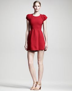 Ribbed Cap-Sleeve Shrug & Fit-and-Flare Dress by Valentino at Neiman Marcus.