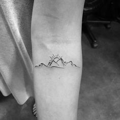 Waves with Mountain and Sun. Thank you trusting me to do your first tattoo. If you want… Waves with Mountain and Sun. Thank you Priscilla Pham.nguyen trusting me to do your first tattoo. If you want… Trendy Tattoos, Mini Tattoos, Leg Tattoos, Body Art Tattoos, Small Tattoos, Sleeve Tattoos, Tattoos For Women, Tatoos, Wave Tattoos