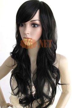 $36,57Fashion perruque de fabuleux 70cm Curl longtemps minuscule noir fille avec #Bang #avant #Style
