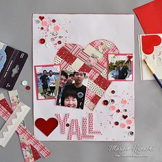 CREATING A WOVEN HEART VALENTINE SCRAPBOOK PAGE by @ilscraps Burst of sequins placed with NEW Adhesives Dots Micro + accented with foiled 3D Foam Hearts = SO FUN & BRIGHT! Woven heart focal element made with @beauthentiquepaper Visit the blog for tutorial & videos.