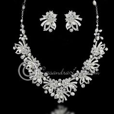Wedding Necklace Set of Jeweled Ribbons & Pearls