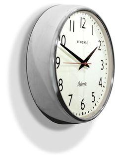 Newgate Watford Wall Clock - Chrome Angle