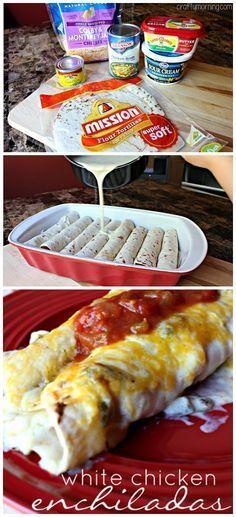 White Chicken Enchilada Recipe (with Chile & Sour Cream Sauce) | CraftyMorning.com