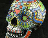 Mosaic  Sugar Skull, Life-size, Dia De Los Muertos.