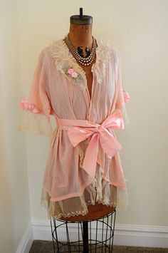 SALE antique french 1920's flapper pink boudoir by lacemonster816
