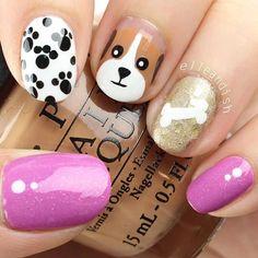 25 Cutest Animal Nail Art Designs You'll Fall In Love With Dog Nail Art, Nail Art For Kids, Animal Nail Art, Dog Nails, Easy Nail Art, Little Girl Nails, Girls Nails, Animal Nail Designs, Nail Art Designs