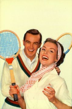 The good natured enthusiasm that pervaded most 1950s ads couples with the fun of tennis in this charming mid-century photograph
