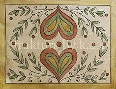 Blank fraktur note cards with envelopes for sale by Kelsey A. Smith. #fraktur #hearts #folkart