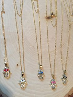 Hamsa necklace triple gold chain charm necklace by bellaluv987