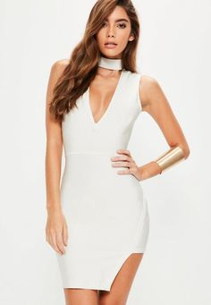 look like a baller in bandage wearing this white bodycon dress - featuring a choker neckline, asymmetric hem and plunging neckline.
