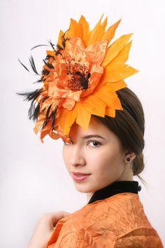 Orange Fascinator Hat for Kentucky derby by IrinaSardarevaHats