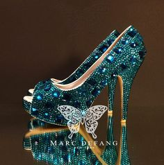 Luxury Peacock Blue Diamond Frost Peep Toe Heels New Snow by MDNY, $259.00