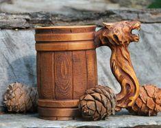 Wooden Tankard Beer Dragon Stein Mug Carved Souvenir Cedar