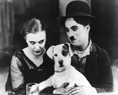 Edna Purviance and director actor Charlie Chaplin with Scraps (real name Mutt) on the set of A Dog's Life Charlie Chaplin, Stan Laurel, Mabel Normand, Edna Purviance, Charles Spencer Chaplin, Celebrity Dogs, Fox Terrier, Vintage Dog, Life Pictures