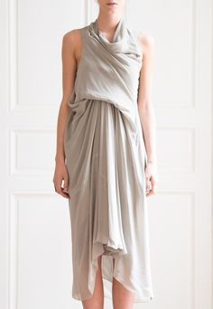 Rick-Owens-asymmetric-silk-dress - Once Wed