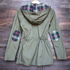 womens plaid hooded military parka jacket in olive green
