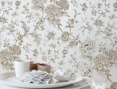 Wallpaper Elena (Silver metallic, Anthracite, Beige, Cream) | Wallpaper from the 70s Cream Wallpaper, Wallpaper S, Silver Wallpaper Metallic, Basic Colors, Decoration, Surface Design, Shag Rug, Tapestry, Floral