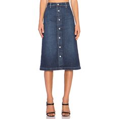 AG Adriano Goldschmied x Alexa Chung Cool Denim Skirt Skirts featuring polyvore fashion clothing skirts denim skirt blue skirt blue denim skirt button front skirt button front denim skirt