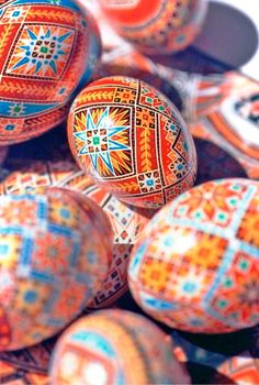 Traditional 'pysanky', or Ukrainian Easter eggs, that I made in the year 2004 (Made and photographed by Dave Melnychuk)