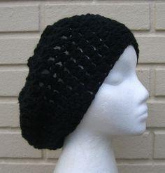 Black Slouchy Beanie Crochet Hat
