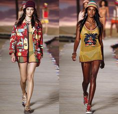 Tommy Hilfiger 2016 Spring Summer Womens Runway Catwalk Looks - New York Fashion Week - Denim Jeans Tropical Island Life Beach Rasta Crochet Bikini Swimwear Shorts Stripes Mesh Fishnet Perforated Lasercut Knit Sweater Outerwear Jacket Blazer Pantsuit Suede Crop Top Midriff Sneakers Flowers Floral Print Motif Wide Leg Trousers Palazzo Pants Bomber Jacket Maxi Dress Shirtdress Silk Satin Babydoll Halter Top