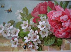 c1895 Paul de Longpre Early Visitors Print Peony Apple Blossoms Bees Flower Floral Chromolithograph Half Yard Long Antique Victorian
