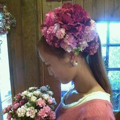 成人式用で、和装ヘッドドレスを作りました(*^^*) これから、成人式の髪飾りの注文もいっぱいです❗❗(*^^*) #ヘッドドレス  #髪飾り  #ヘッドアクセサリー  #成人式  #ハンドメイド  #花屋  #花のある暮らし  #花のある生活  #アーティシャルフラワー  #アートフラワー  #手作り