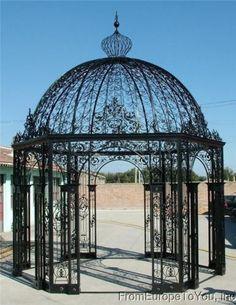 Large Victorian Style Cast Iron Garden Gazebo 14   eBay