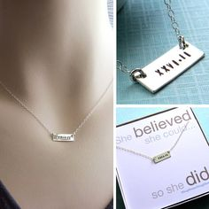 Hand Stamped Bar, Marathon, Half Marathon in Roman Numerals, Sterling Silver, Runners Necklace, Marathon Jewelry, Running, Sentiment Card