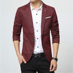 2017 New Mens Blazer Spring Fashion Suits For Men Top Quality Blazers Slim Fit Jacket Outwear Coat Costume Homme Blazer Men Blazers For Men Casual, Business Casual Men, Casual Blazer, Casual Suit, Mens Fashion Suits, Mens Suits, Blazer Outfits Men, Men Blazer, British Style Men
