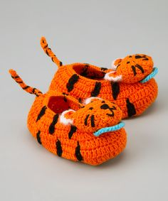 Orange Black Tiger Crochet Booties