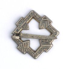 English fourteenth-century silver brooch decorated with eight heraldic shields, including the royal arms of England pre-1340, Beauchamp, de Clare and de Bohun; inscribed in Latin 'Iesus Nazarenus Rex Judeorum'/'Jesus of Nazareth, King of the Jews', and French, 'Mon Quer Avet'/'You Have My Heart'. (British Museum)