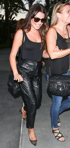 See the pics of Lea Michele in some hot leather pants having a fun girls' night at the Adele concert over the weekend. Black Leather Pants, Leather Trousers, Black Trousers, Leather Skirt, Ladies Night, Girls Night, Adele Concert, Rachel Berry, Lea Michele