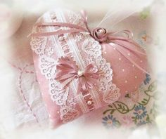 Pink heart with lace and ribbons
