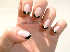 Angled french manicure in black with silver rhinestones ♥