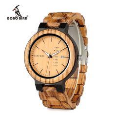 BOBO BIRD  Wood Watch for Men with week display