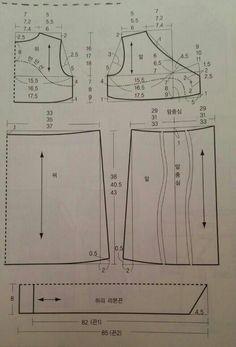 원피스 패턴 : 네이버 블로그 Korean Dress, Sewing Patterns, Diagram, My Style, Dresses, Stitching, Fashion, Vestidos, Patron Couture Facile