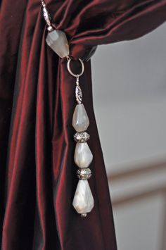 white agate and metal beads curtain tieback by CayBoCreation, €170.00