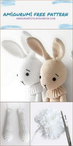 Crochet Bunny Pattern, Crochet Amigurumi Free Patterns, Crochet Animal Patterns, Crochet Bear, Single Crochet Decrease, Single Crochet Stitch, Crochet Fall Decor, Easter Crochet, Bunnies