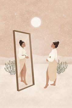 Illustration Girl, Digital Illustration, Desert Art, Moon Art, Minimalist Art, Art Pictures, Photos, Art World, Lovers Art