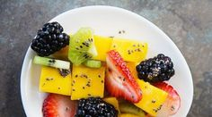 honey lime chia dressing and fruit salad