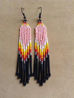 Pink dangle seed bead earrings by Beadcracka on Etsy