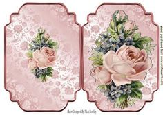 Pink vintage roses quick card on Craftsuprint - Add To Basket! Vintage Scrapbook, Scrapbook Cards, Vintage Cards, Vintage Images, Vintage Flowers, Vintage Pink, Decoupage, Freebies, Quick Cards
